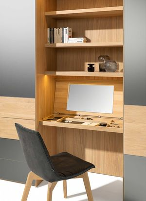linking element make-up table for the TEAM 7 valore wardrobe in white oak