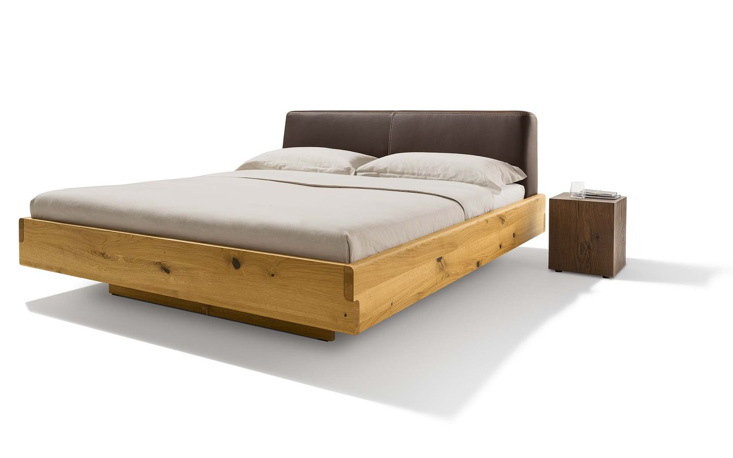nox solid wood bed with leather headboard