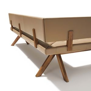 yps corner bench made of solid wood by from the back
