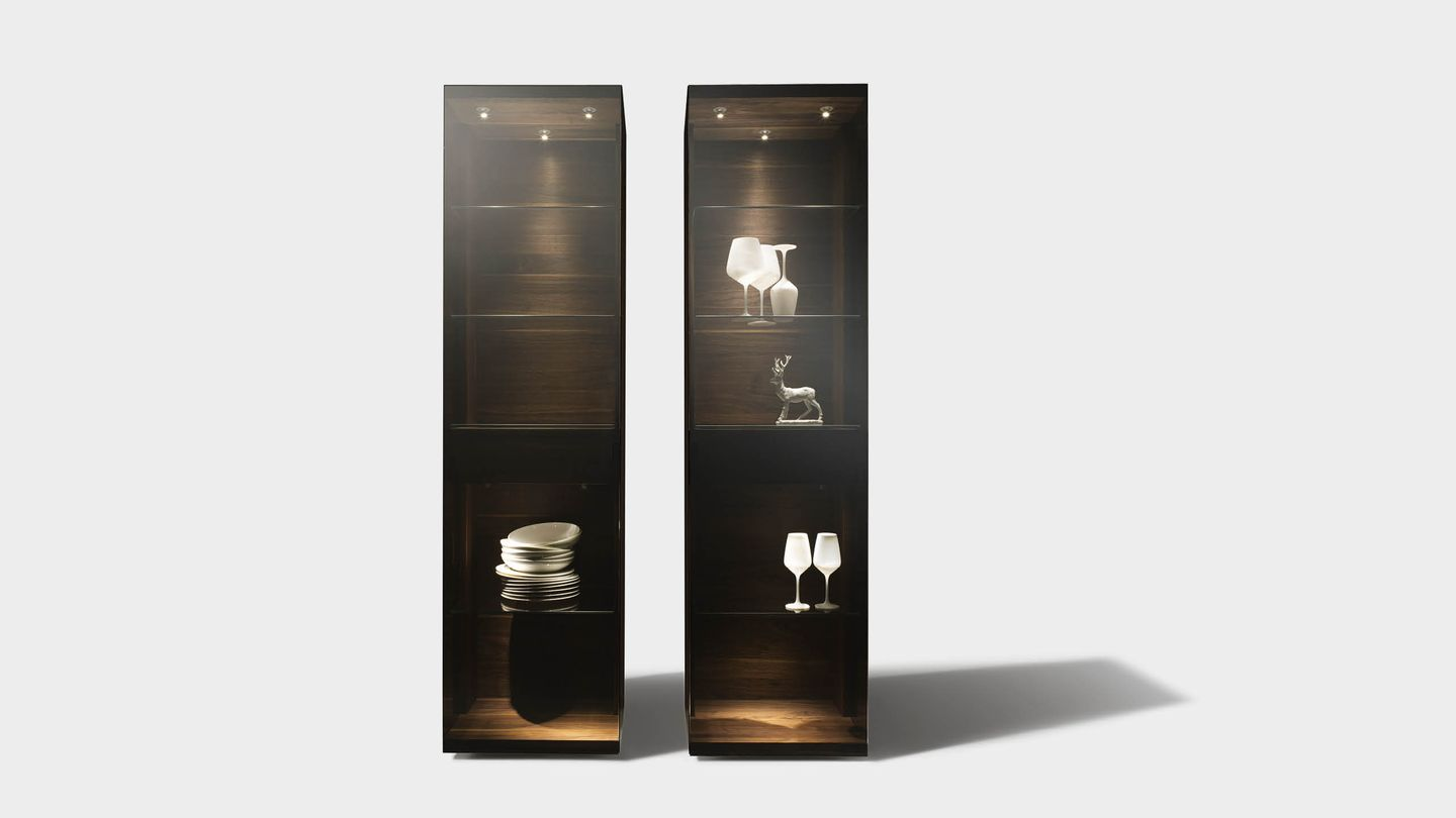 nox glass cabinet made of solid wood with palladium glass in different widths