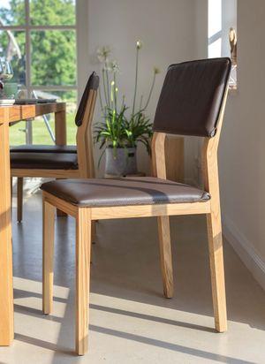 Sedia in legno massello s1 con pelle