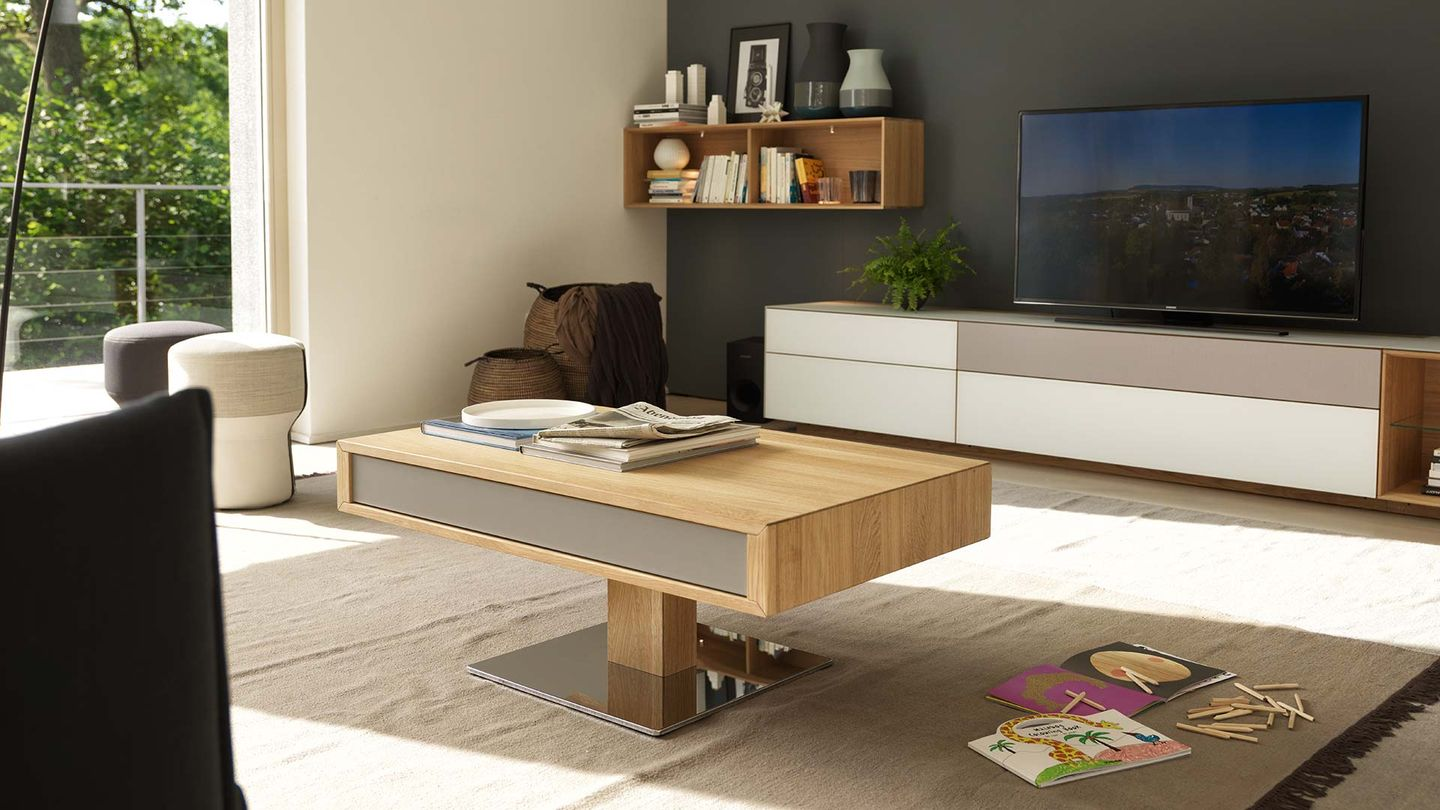 lift coffee table made of solid wood