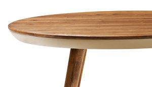 flaye round table in walnut made of solid wood