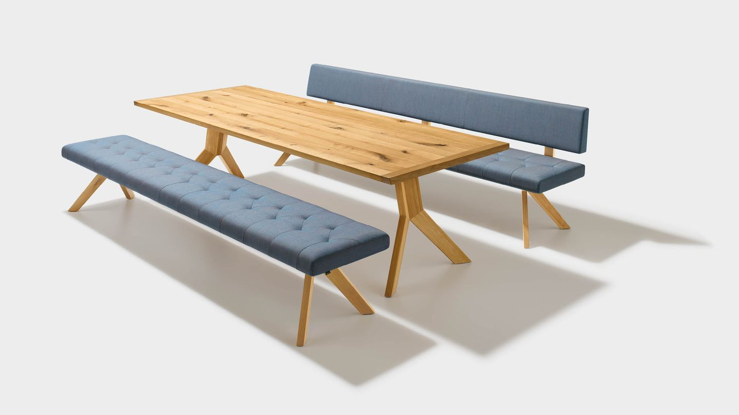 yps dining room wooden table with bench in fabric