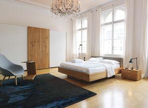 nox bedside cabinet with bed in oak