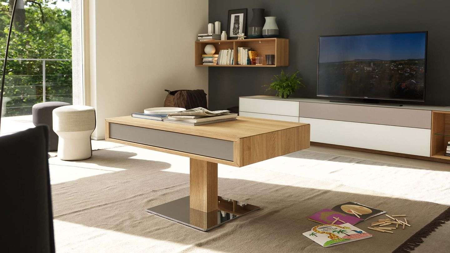 lift height-adjustable coffee table in oak