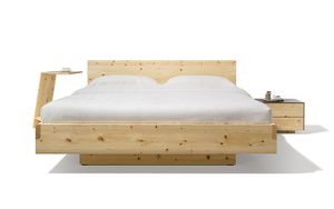 nox solid wood bed with headboard in Swiss pine and sidekick side table