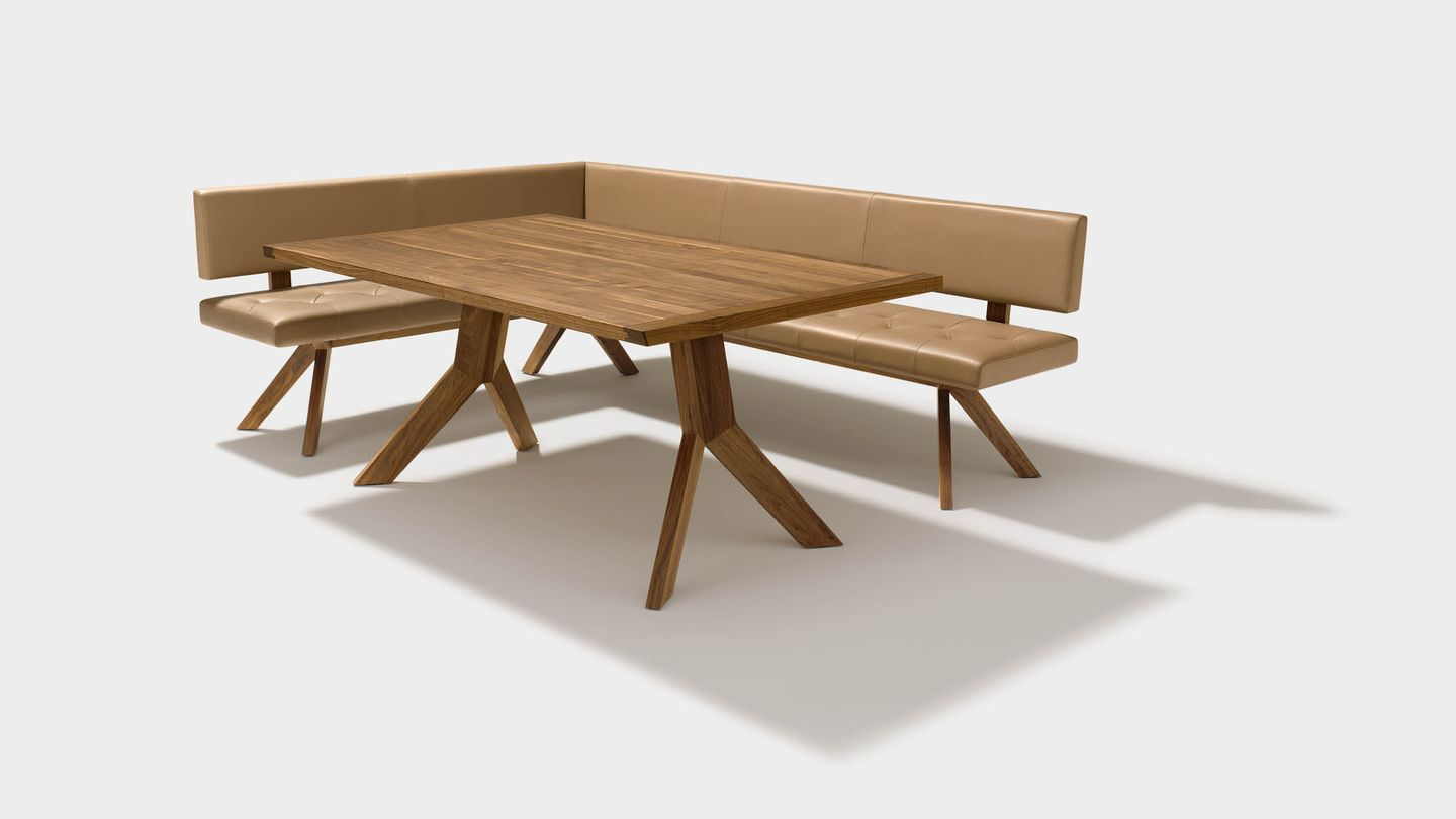 yps corner bench of solid wood in walnut with yps non-extendable table