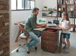 Höhenverstellbarer Schreibtisch atelier mit Rollcontainer