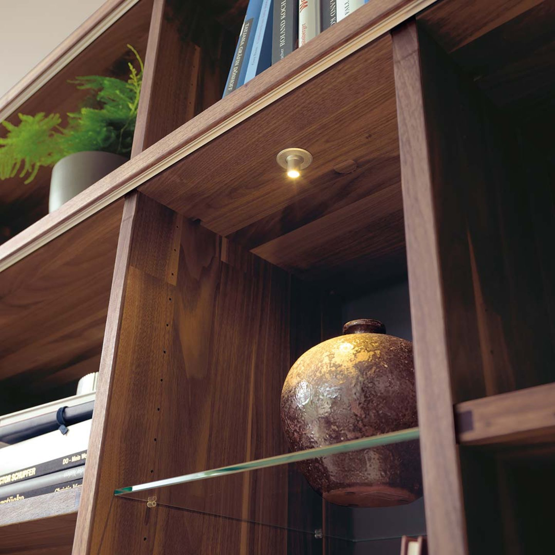 Bibliothek cubus aus massivem Holz mit Beleuchtung