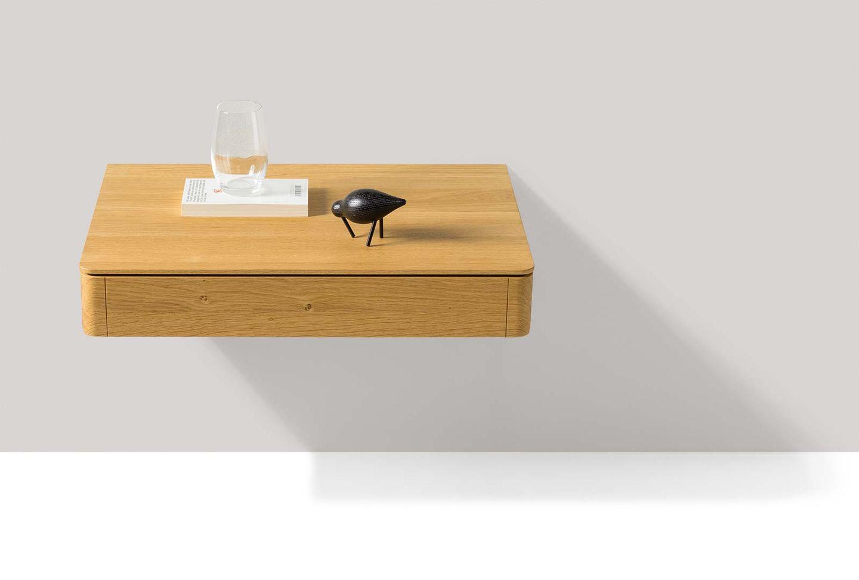 Table de chevet float en bois naturel suspendue