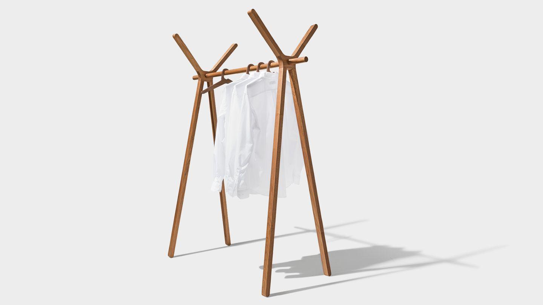 hood+ clothes rack in walnut