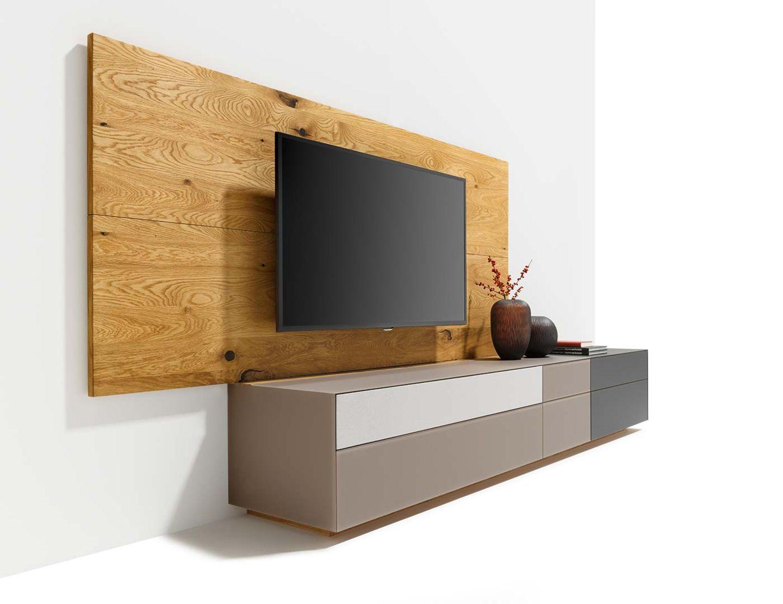 Parete attrezzata cubus pure con schienale in legno naturale