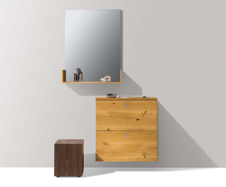 Designer side table oak blocks