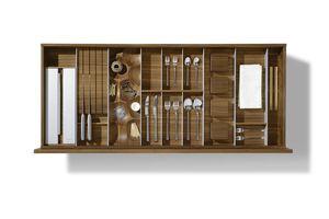 Innenleben für Küchenschubladen in Nussbaum aus Massivholz