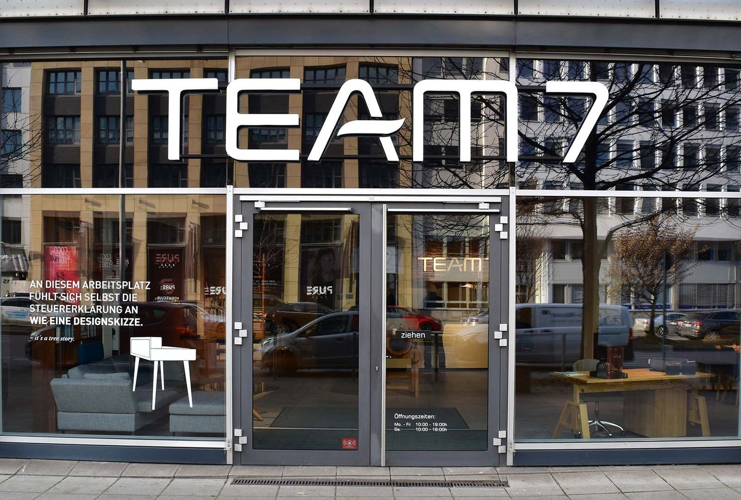 External view of TEAM 7 store in Stuttgart from the front