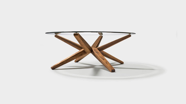 Couchtisch stern aus Holz mit Klarglasplatte