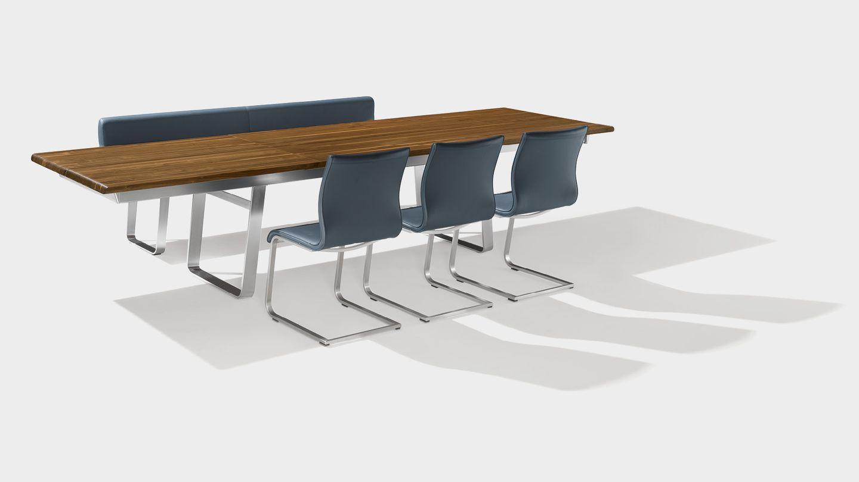"""Раздвижной стол """"nox"""" из массива дерева с консольным кожаным стулом """"magnum"""""""