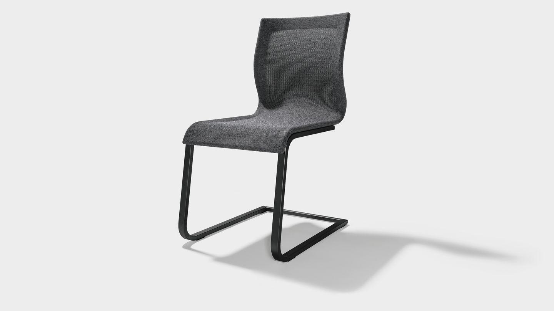 Esszimmer Stuhl magnum Stricktex mit Gestell schwarz matt