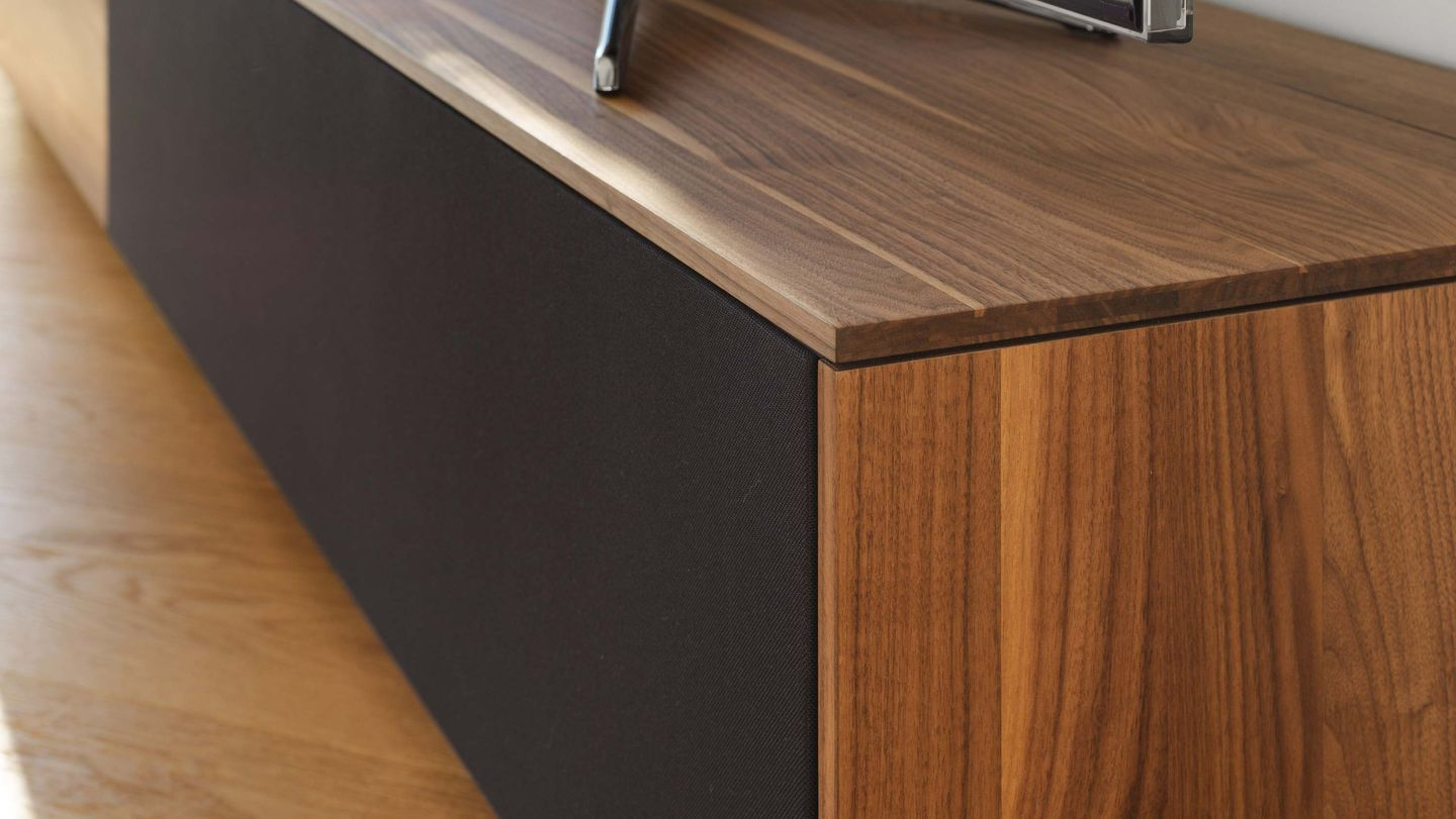Detailed view filigno wall unit in walnut by TEAM 7