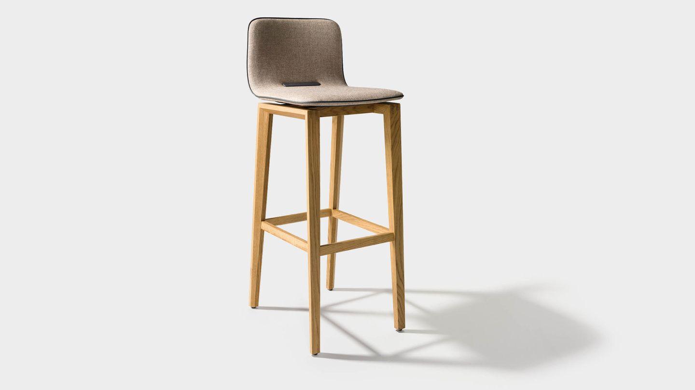 ark bar stool in fabric with wooden legs in oak
