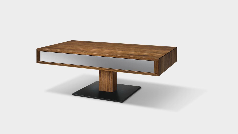 table de salon lift ajustable en hauteur avec plateau noir mat