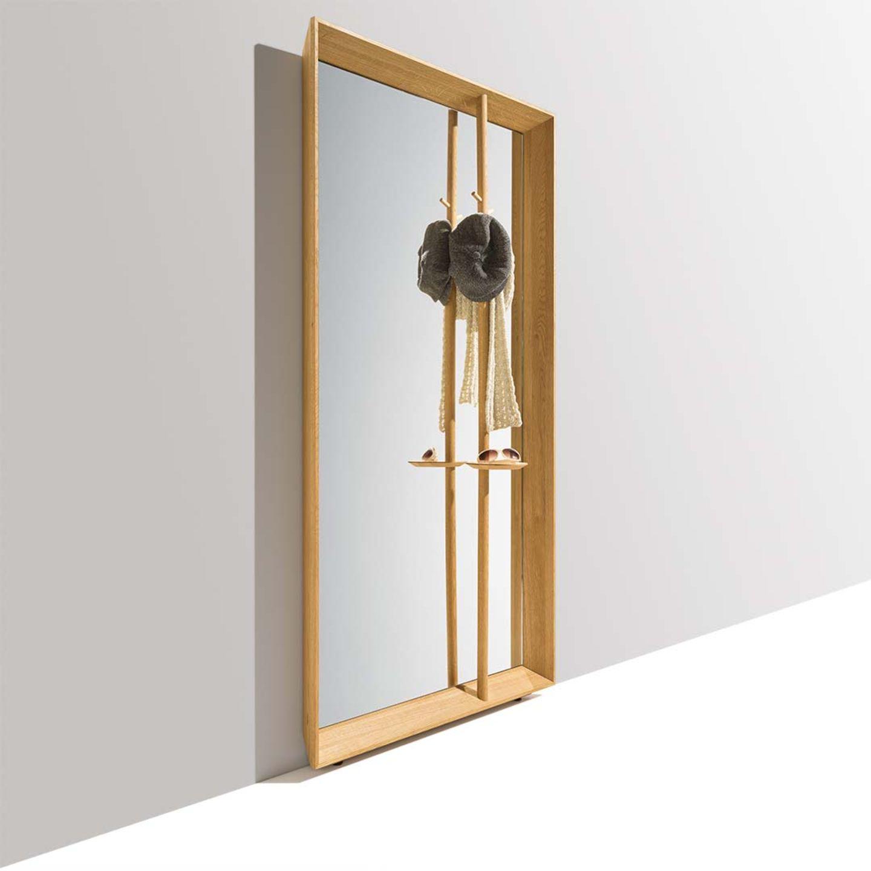 meuble de vestibule haiku en guise de miroir avec barre verticale et plateau pour clés