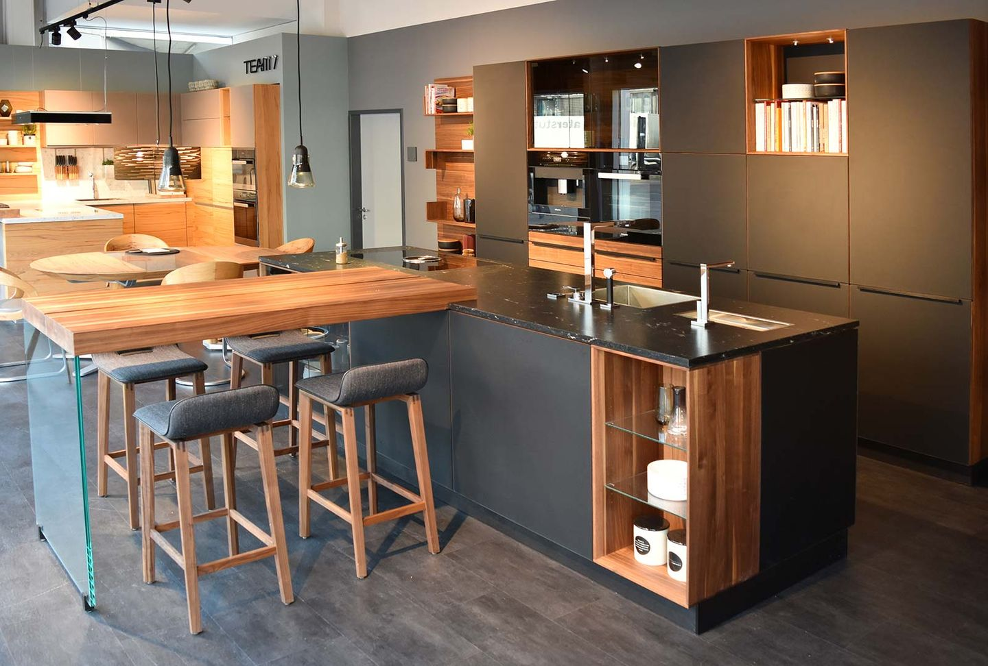 black line designer kitchen at TEAM 7 store Stuttgart