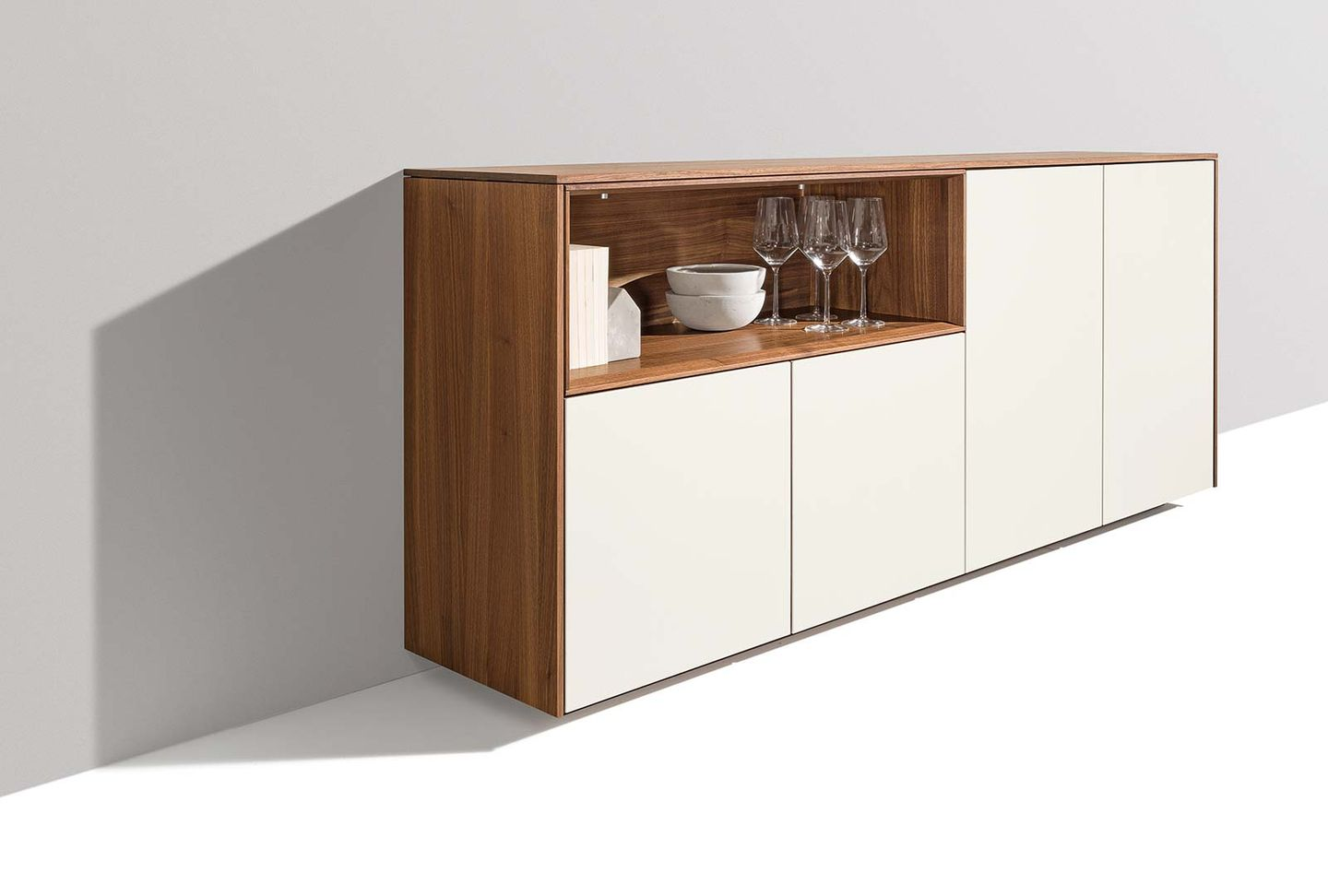 filigno sideboard in walnut with attractive configuration arctic white