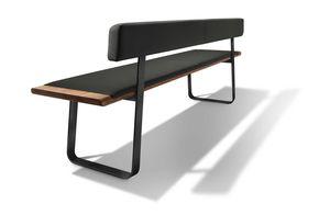 Sitzbank nox mit Metallkufen in Nussbaum mit Rückenlehne