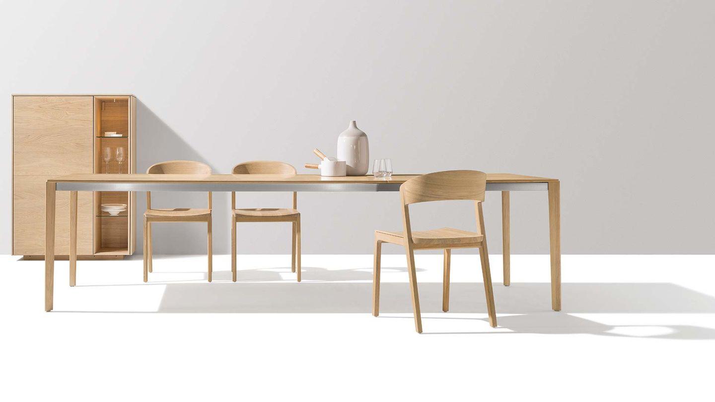 Tavolo allungabile tak con sedia mylon in legno massello