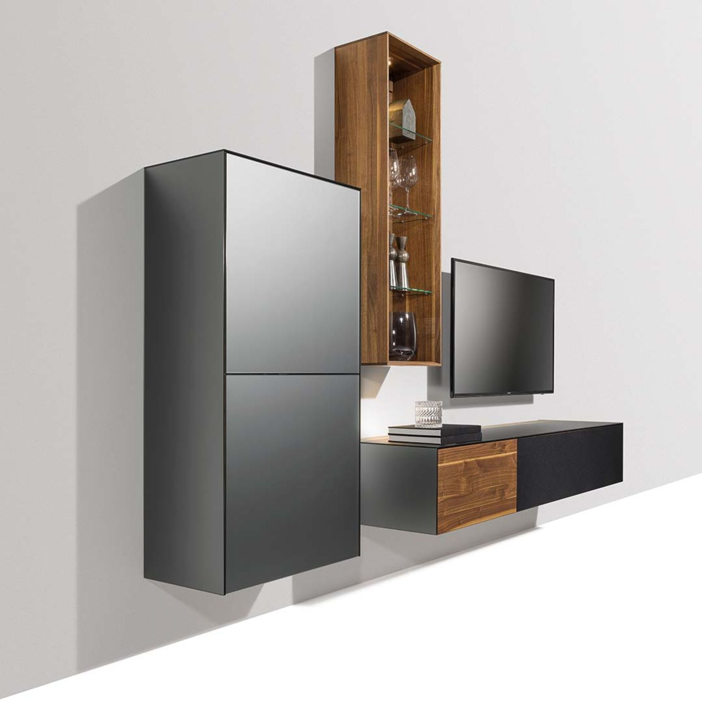 cubus pure wall unit with glass colour steel